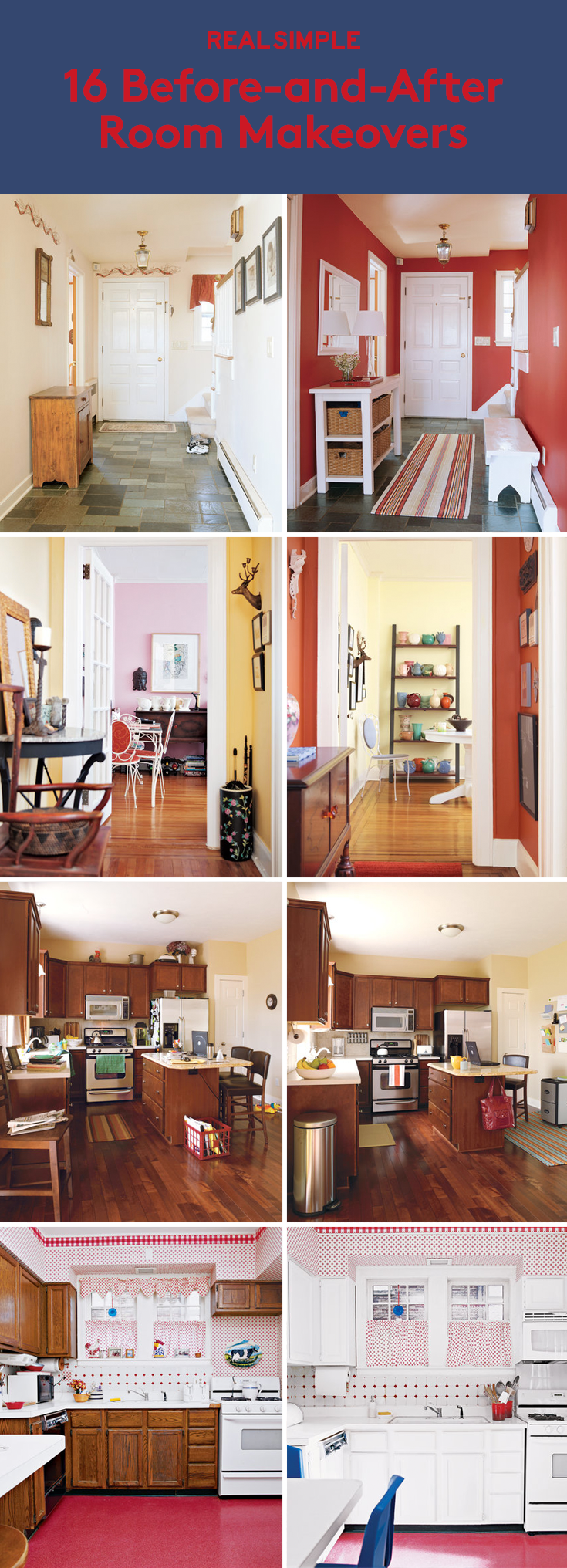 16 Before-and-After Room Makeovers | Learn how Real Simple transformed readers' kitchens, bathrooms, and more.