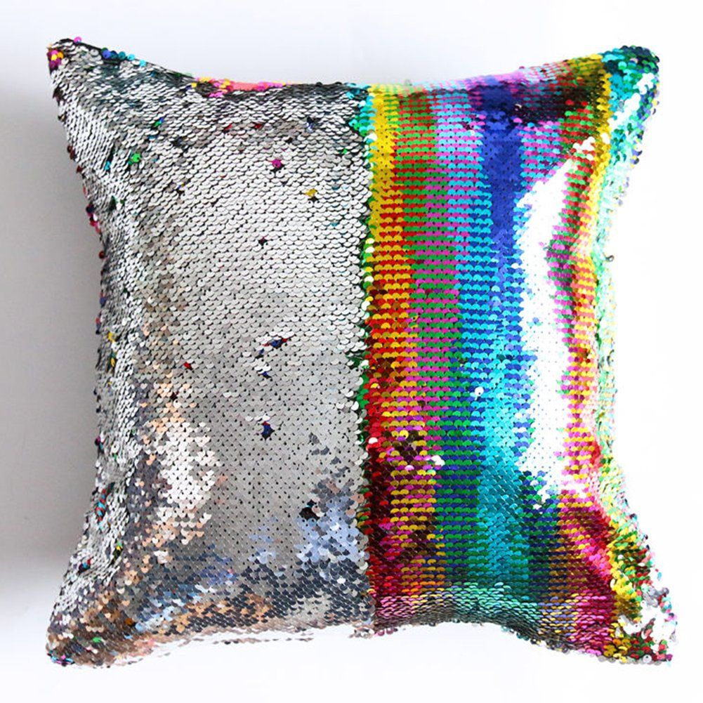 Reversible Sequin Pillow Case Decorative Mermaid Pillow Cover Color Changing Cushion Throw Pillowcase 16a X Sequin Cushion Sequin Throw Pillows Sequin Pillow