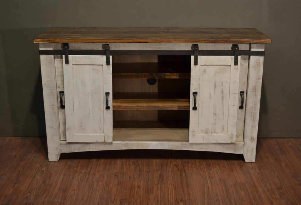 Greenview Sliding Door Distressed White Tv Stand 60 Default