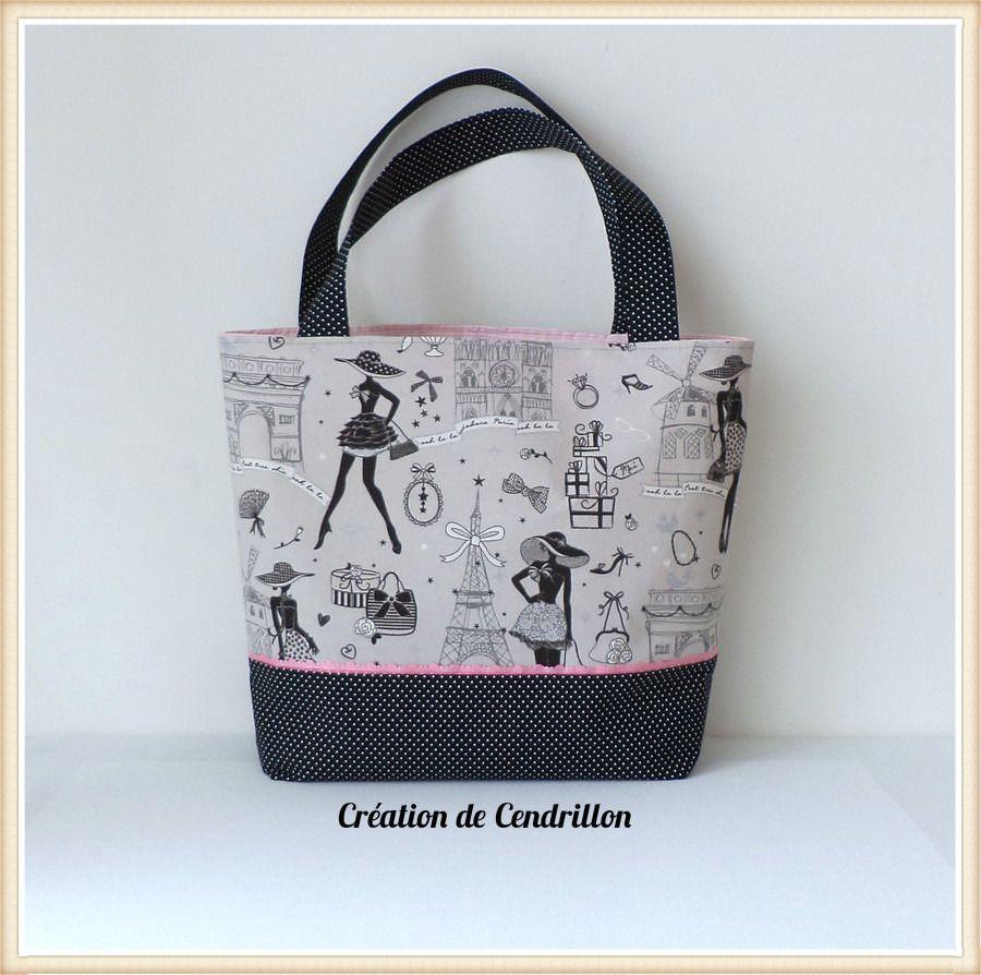 collection mode sac cabas les parisiennes fait main sacs main par creations de cendrillon. Black Bedroom Furniture Sets. Home Design Ideas