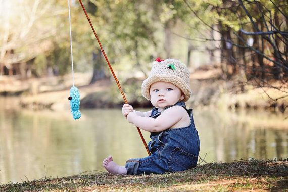 Fly fishing bucket hat crochet fisherman hat with fish boy for Toddler fishing pole