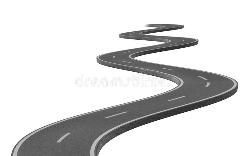 Curved Winding Asphalt Road Represented By A Single Highway On White Background Sponsored Single Represented Asphalt Road Asphalt Stock Illustration