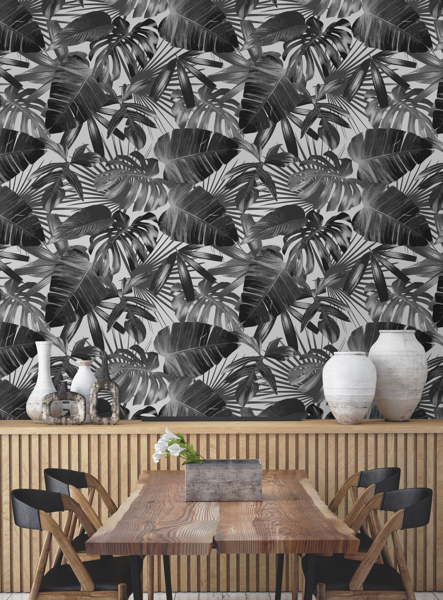 Want to bring jungle vibes into your home? This wallpaper design is brimming with character and definition. Intricately drawn leaves come together to give you a sophisticated yet edgy look to your dining room spaces.