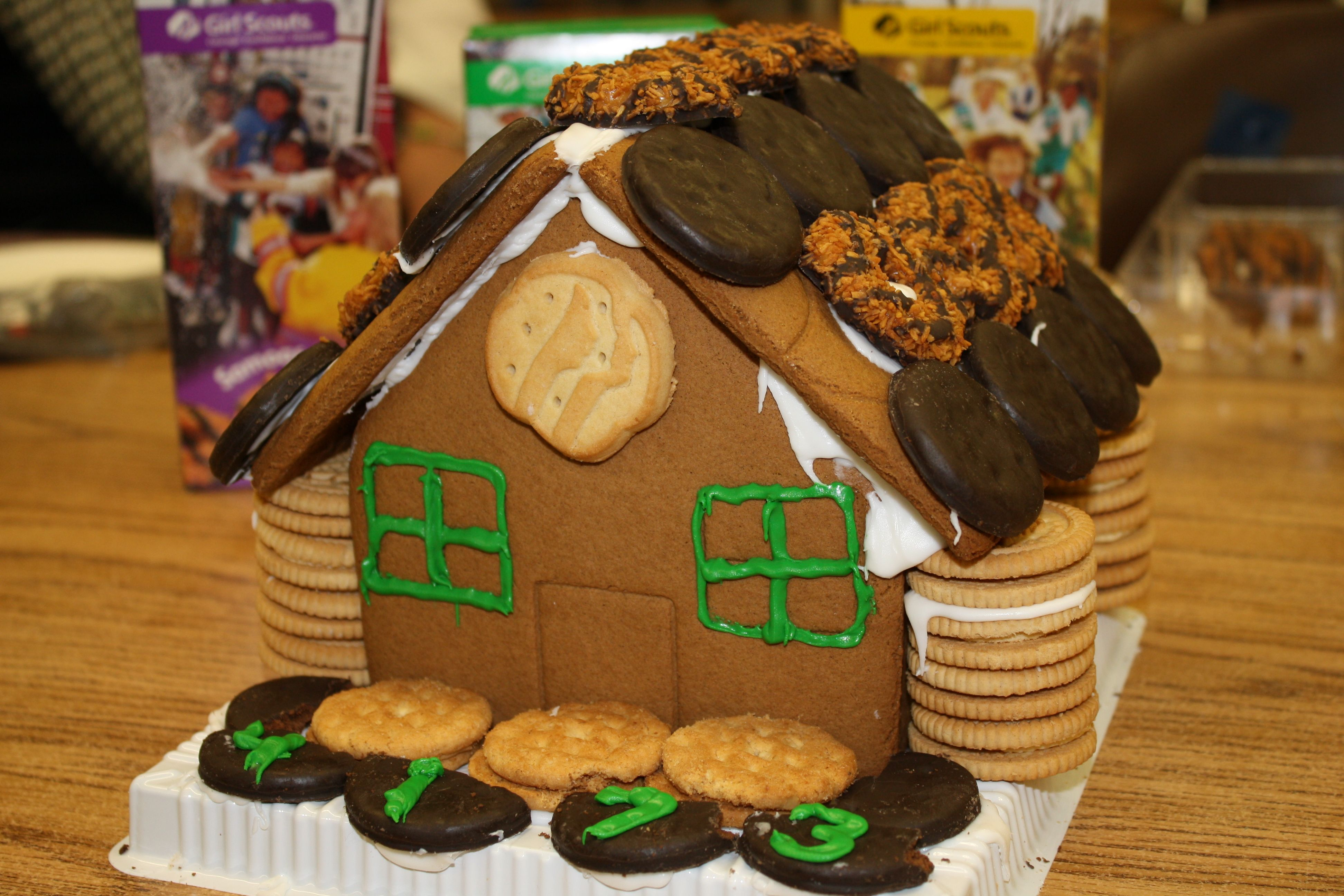 Girl Scout Cookie house! Used a clearance gingerbread