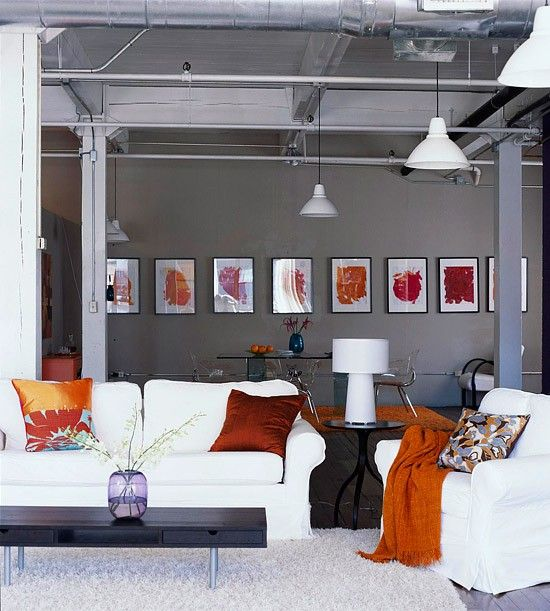 LOVE the bold pops of color in the context of the gray and white