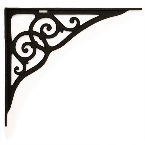 Ringlet Motif Large Iron Shelf Bracket - Black Powder Coat