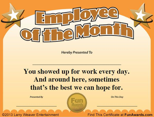 Employee of the Month employee app Pinterest Employee - best of recognition award certificate wording