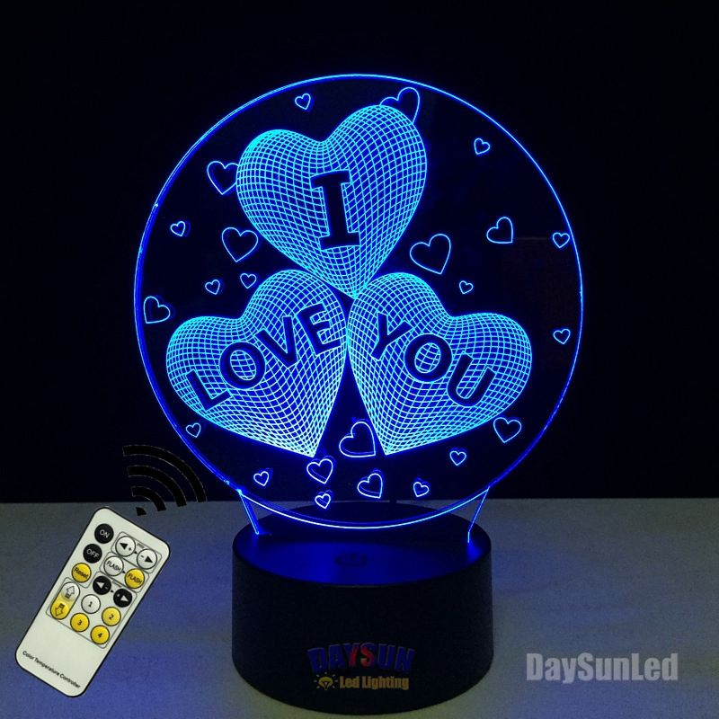 7 Color Changing Usb Charge 3d Heart I Love You Led Night Light With 3d Luminous Decor Table Lamp Nightlight Holiday Lampe Design Lampe Veilleuse Table Tactile