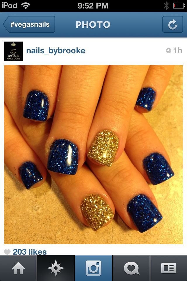 cute gel acrylics blue and gold