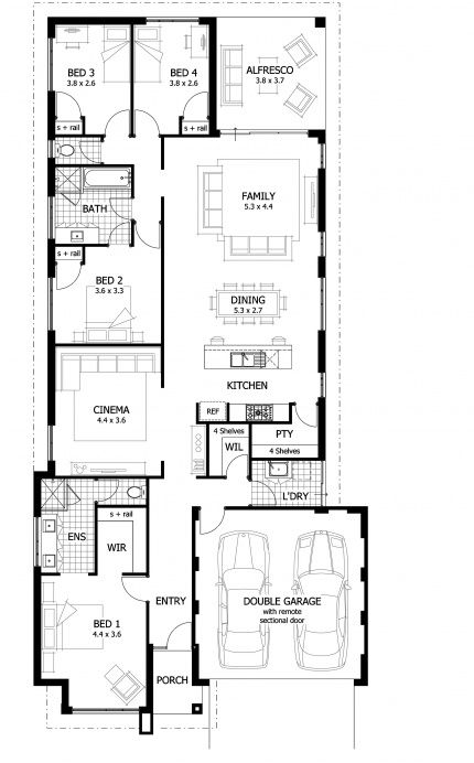 Pin By Culdesac On Floorplans Single Story House Floor Plans Narrow Lot House Plans Architectural Floor Plans