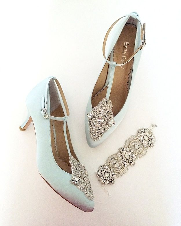 17ee4830fe2c ... featuring classic Old World Charm. Vintage bridal style. Annalise pale  blue wedding shoes by Bella Belle   an awesome Haute Bride statement  bracelet.