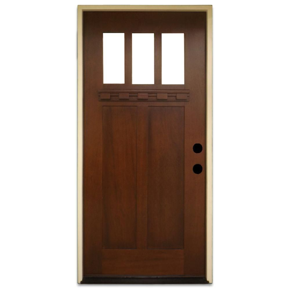 Home Depot Doors Exterior: Steves & Sons 36 In. X 80 In. Shaker 3 Lite Stained
