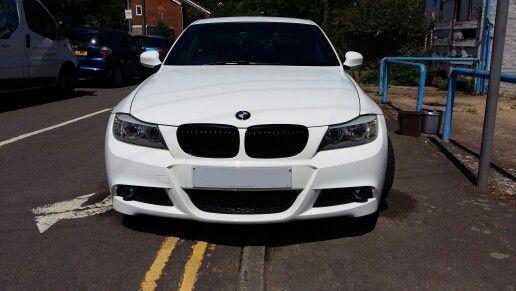 Black grilles and carbon fibre badges added | E90 | Car, Bmw