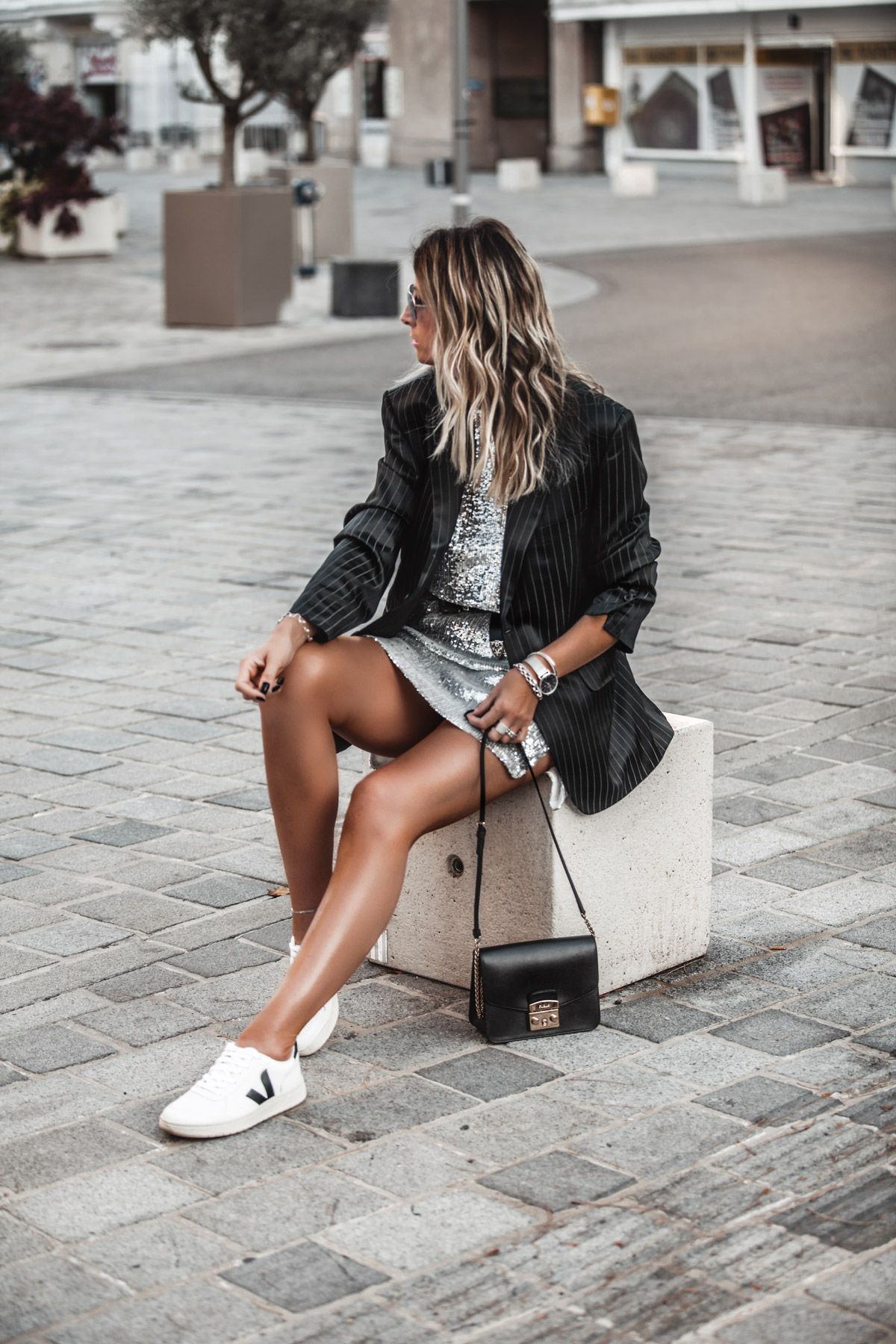 Sequin Dress With Blazer And Sneakers Jennysgou Dress And Sneakers Outfit Winter Dress Outfits Blazer Dress [ 1800 x 1200 Pixel ]
