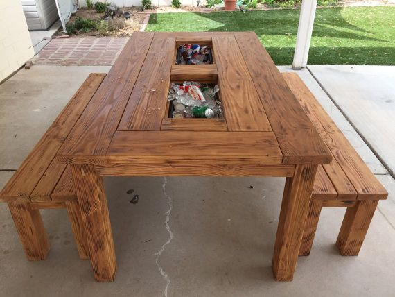 Handmade Patio Table And Benches With Coolers In The Center Wonderful For Parties Get Togethers As I Do Work My Off Time Please