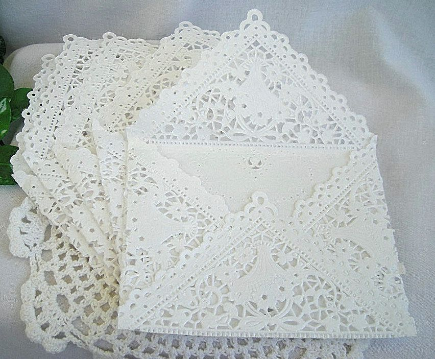 Beautiful White Paper Lace Handmade Envelopes With Vintage