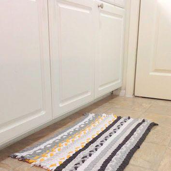 Yellow Grey Rug Braided Upcycled Tshirt Rectangular Kitchen Rag Handmade