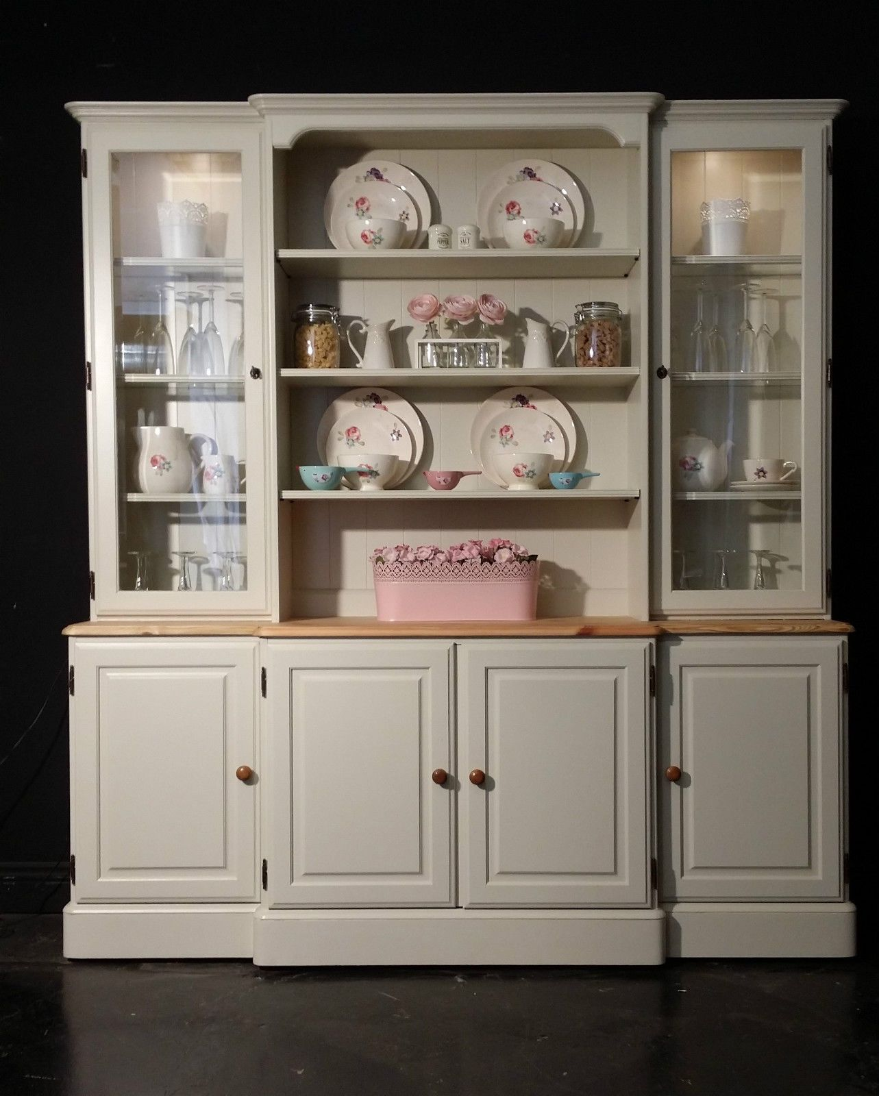 Large Ducal Pine Farmhouse Kitchen Welsh Dresser Shabby Chic in ...