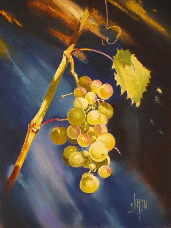 Nature morte grappe de raisin   Joël SIMON   Nature morte, Peinture fleurs, Nature morte fruits