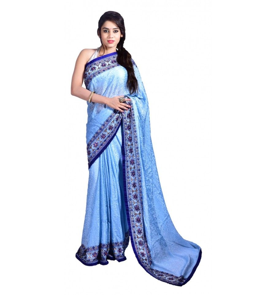 Sky blue saree embellished with nakshi and cutdana and