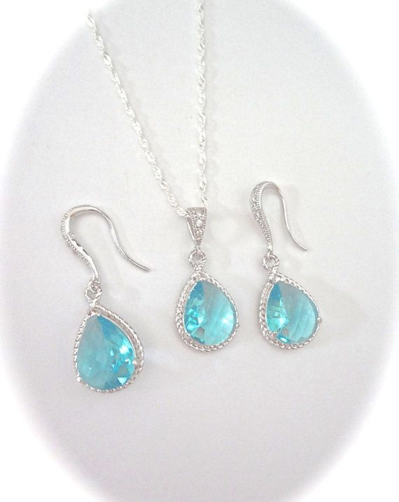 Aquamarine Necklace And Earring Set Something Blue Teardrop Sterling Silver Brides Jewelry March Birthstone Gift