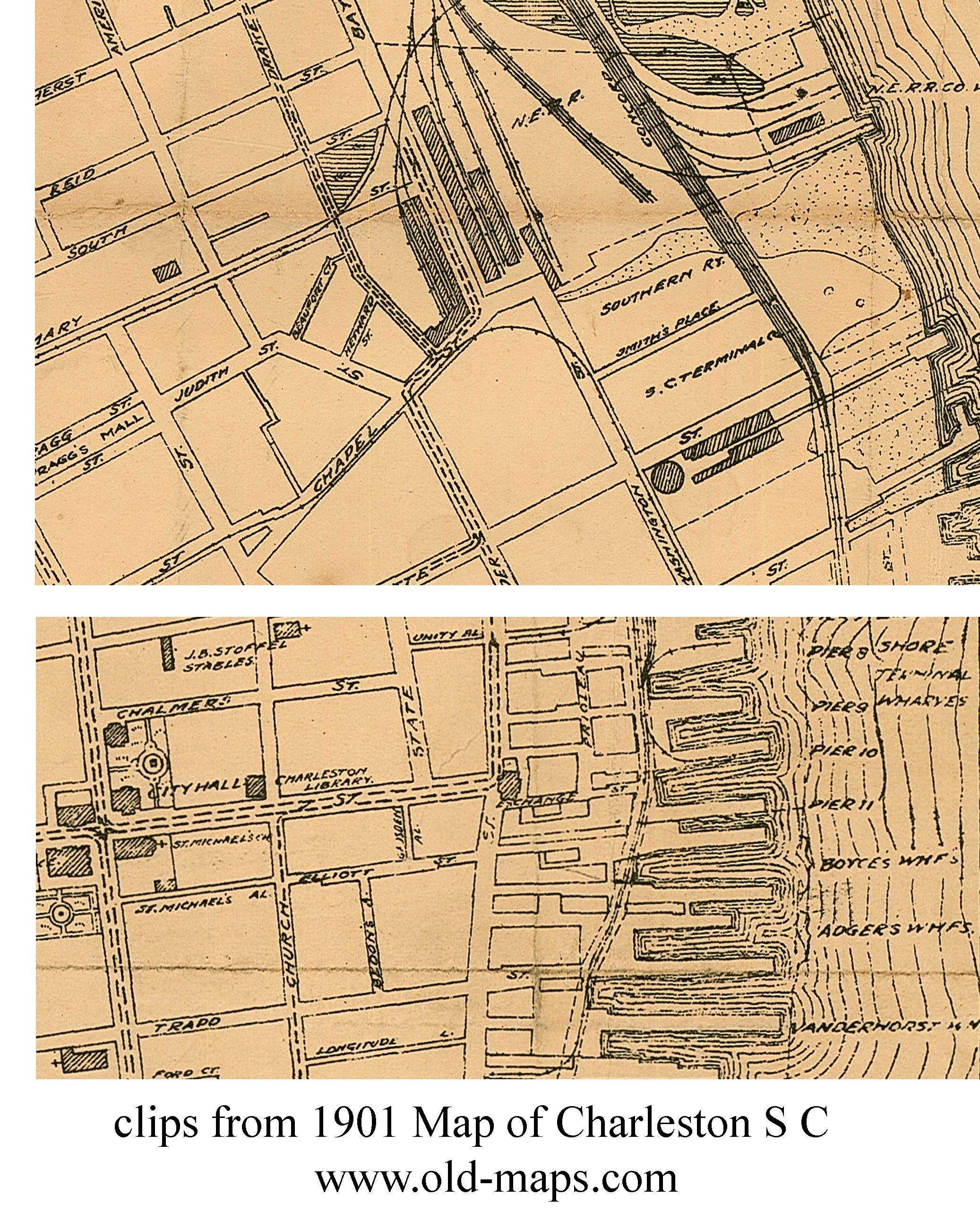 Charleston 1901 South Carolina Old Map Reprint Cities