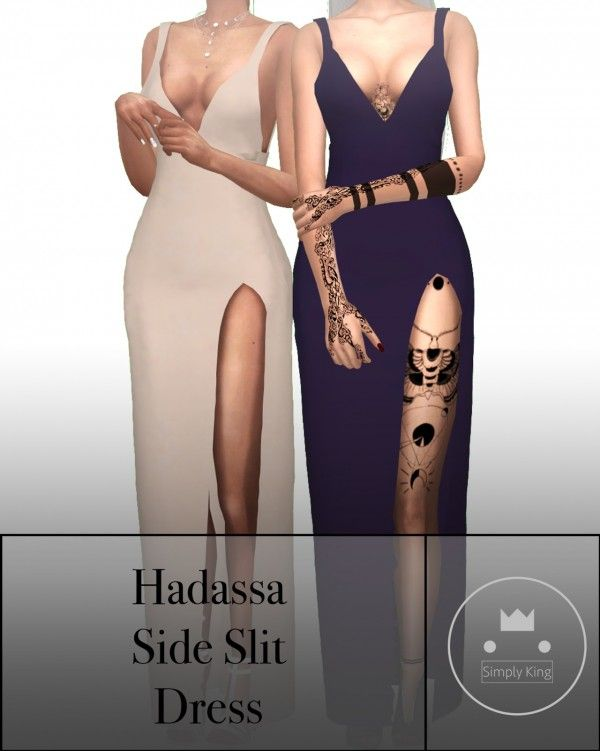 bdf5a855a1a Simply King  Hadassa s Side Slit Dress • Sims 4 Downloads