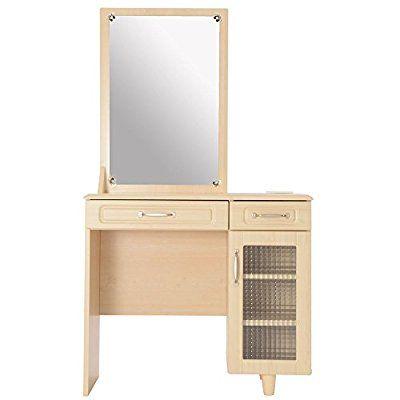 ドレッサー 椅子付き メイク台 スツール付き 鏡台 木製ドレッサー 化粧台 一面鏡 ミラー コスメボックス