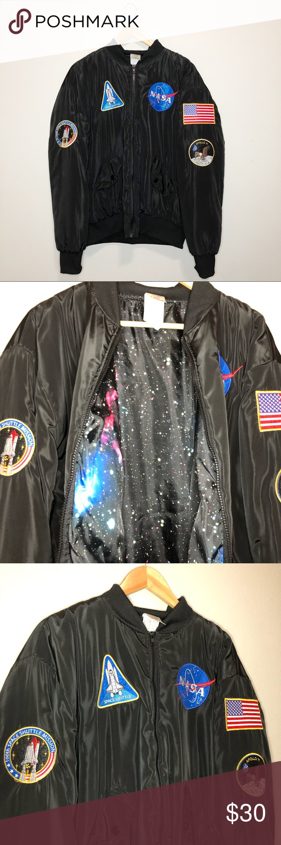 NASA bomber jacket 🌸 NASA black bomber jacket Only worn