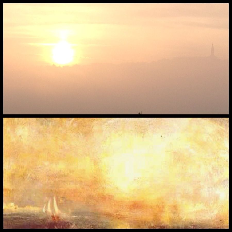Comparisons: a foggy sunset at Castello di Monterone and a painting of William Turner