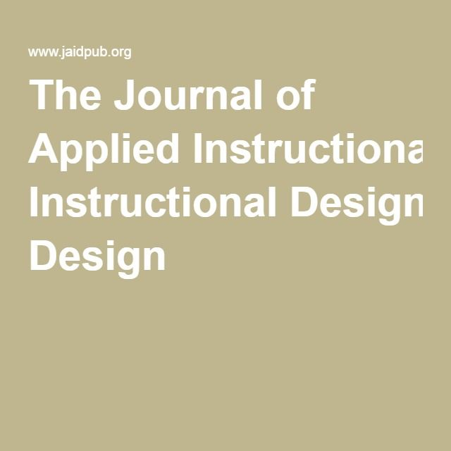 The Journal Of Applied Instructional Design Designed For Learning