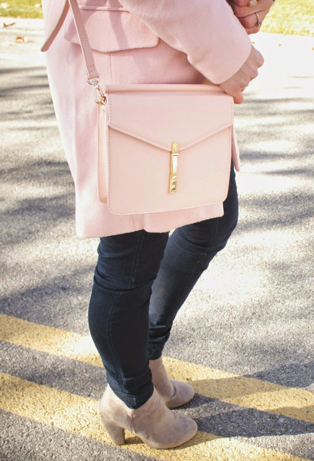 92ff2bab Kiss Me Darling: Soft Hues soft pink coat, blush pink coat, pink coat, gray  sweater, cowl neck, blush pink bag, pink bag, winter outfit
