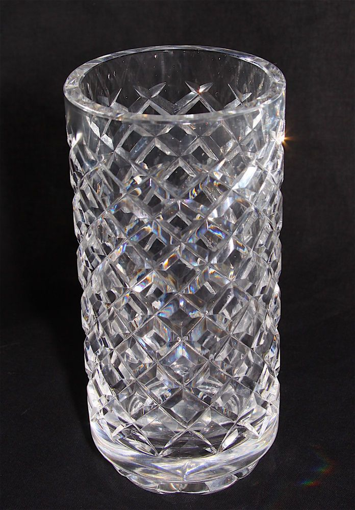 Waterford Crystal Alana Diamond Cut Pattern Footed 6 Cylindrical