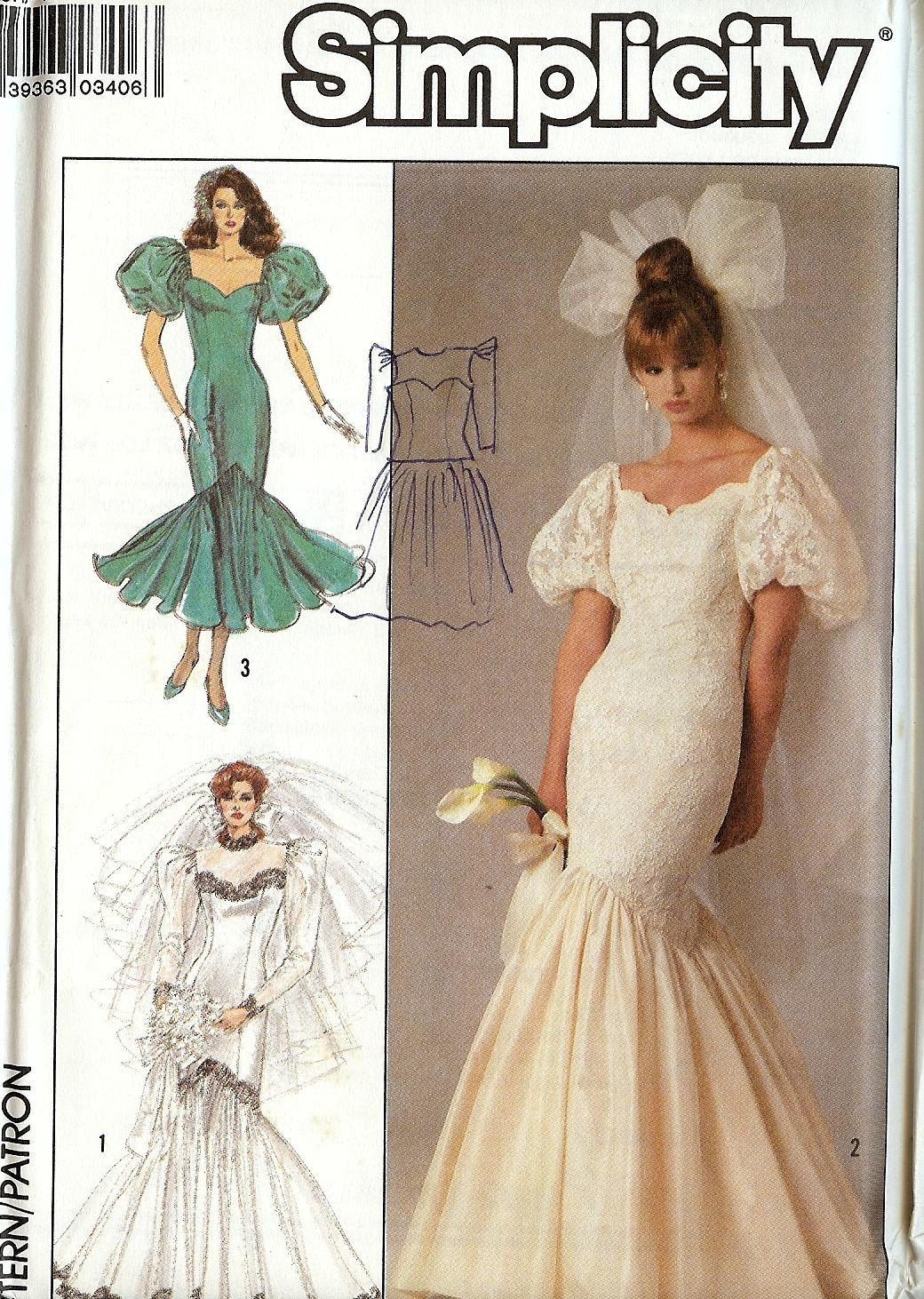 Pattern Simplicity 8425 Wedding Dress Sweetheart Fitted