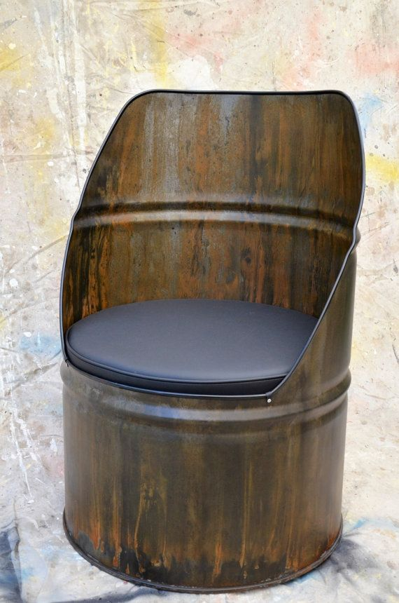 Industrial Furniture Barrel Chair w/ vinyl padded seat. Patina ...