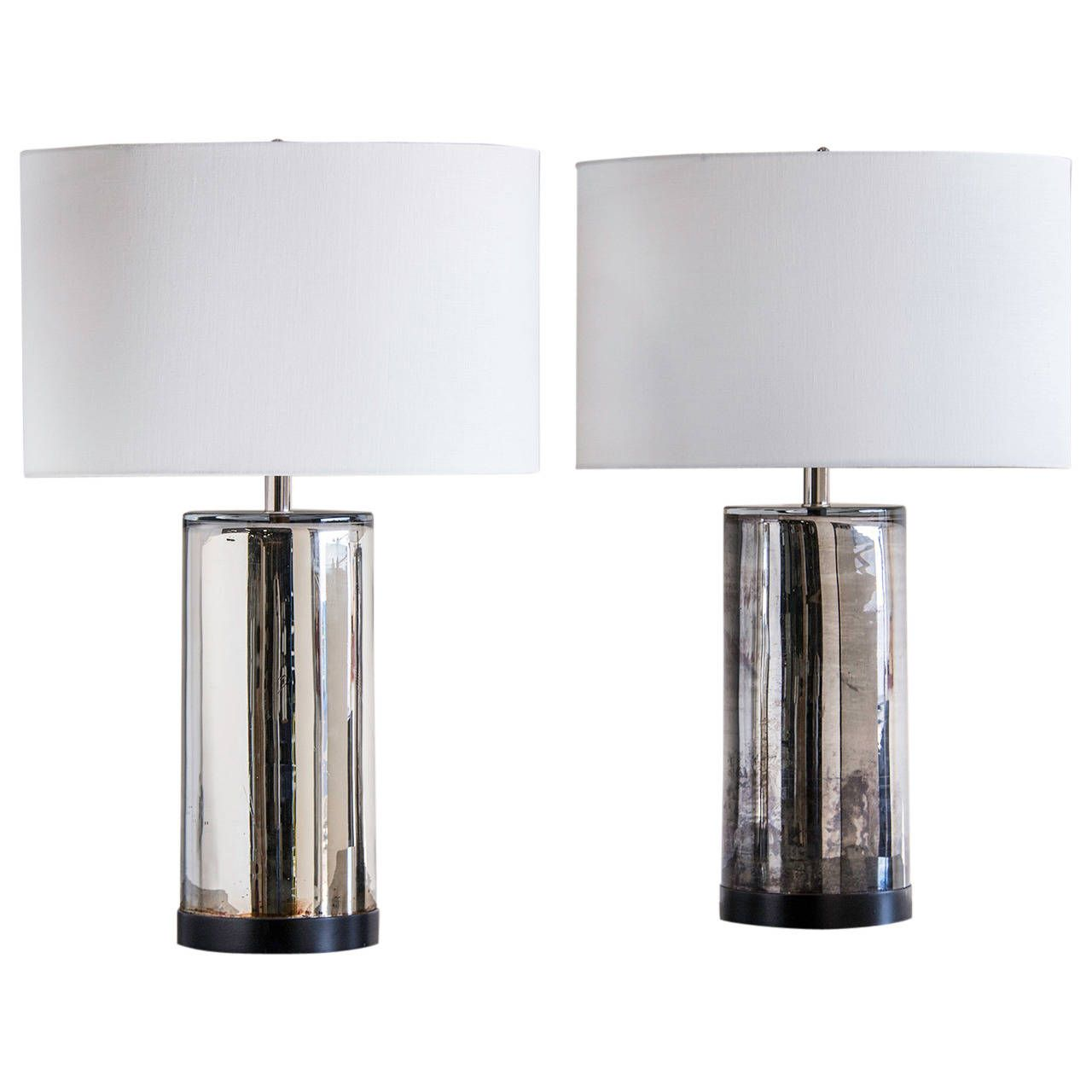 Vintage Pair of Mercury Glass Cylinder Lamps, France circa 1970 | From a unique collection of antique and modern table lamps at https://www.1stdibs.com/furniture/lighting/table-lamps/