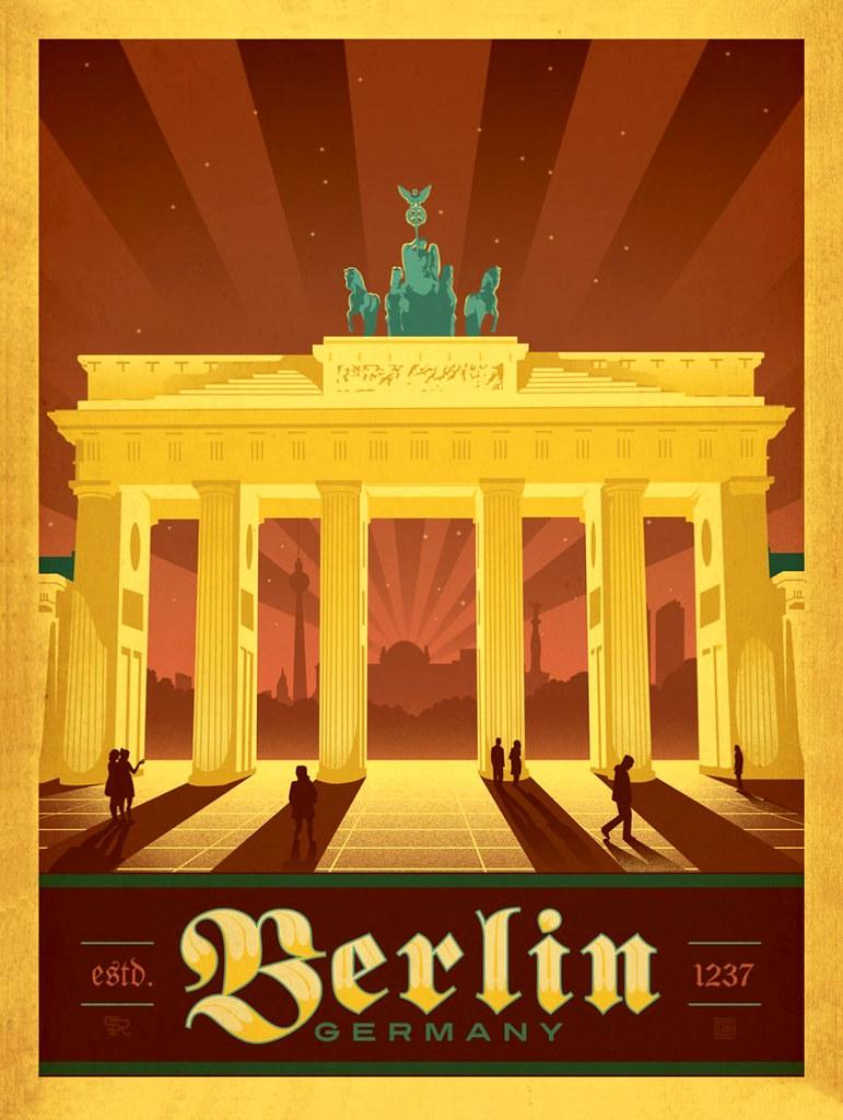 Berlin Germany Travel Poster In 2020 Retro Travel Poster Travel Posters Vintage Posters