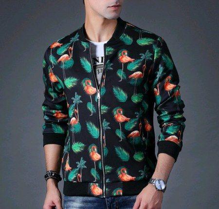 Flamingo bomber jacket for men
