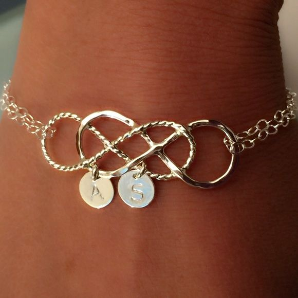 Double Infinity Bracelet With Initials Sterling Silver Jewelry Bracelets