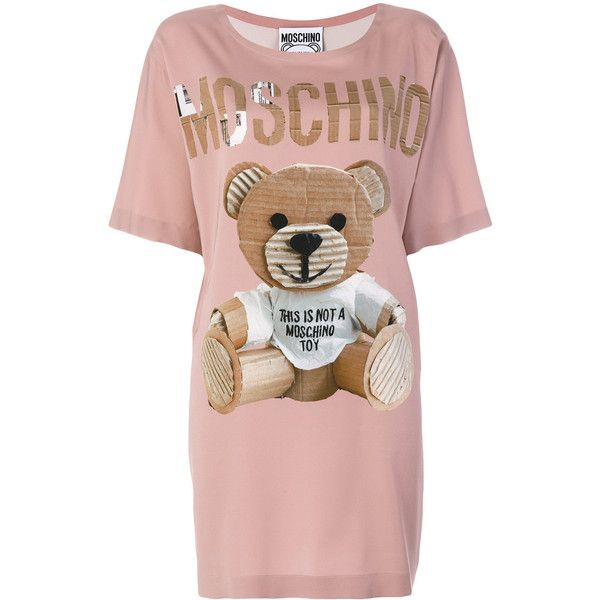 Moschino Teddy T Shirt Dress 1 050 Liked On Polyvore Featuring Dresses Oversized Tee Pink Rayon