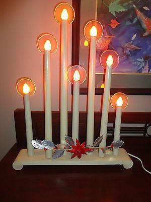 NOMA 1939 Halo Christmas Candelabra - Noma 1939 Halo Christmas Candelabra, 7 Tall Cardboard Candles, Wood
