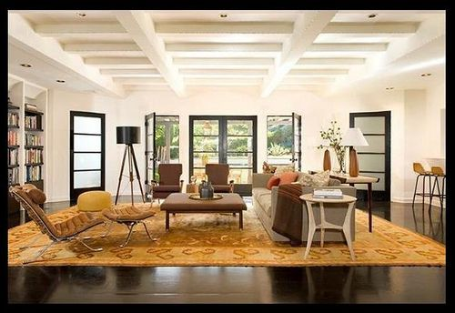 Antique And Modern Furniture Together open living room + neutral mix: modern furniture + antique rug