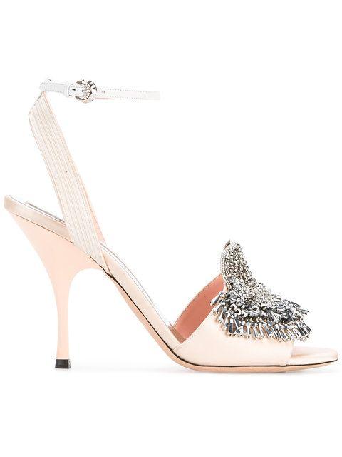 c621c1423f4 Shop Rochas Mid-Heel Satin Open-Toe Pumps with Crystal Embellishment ...