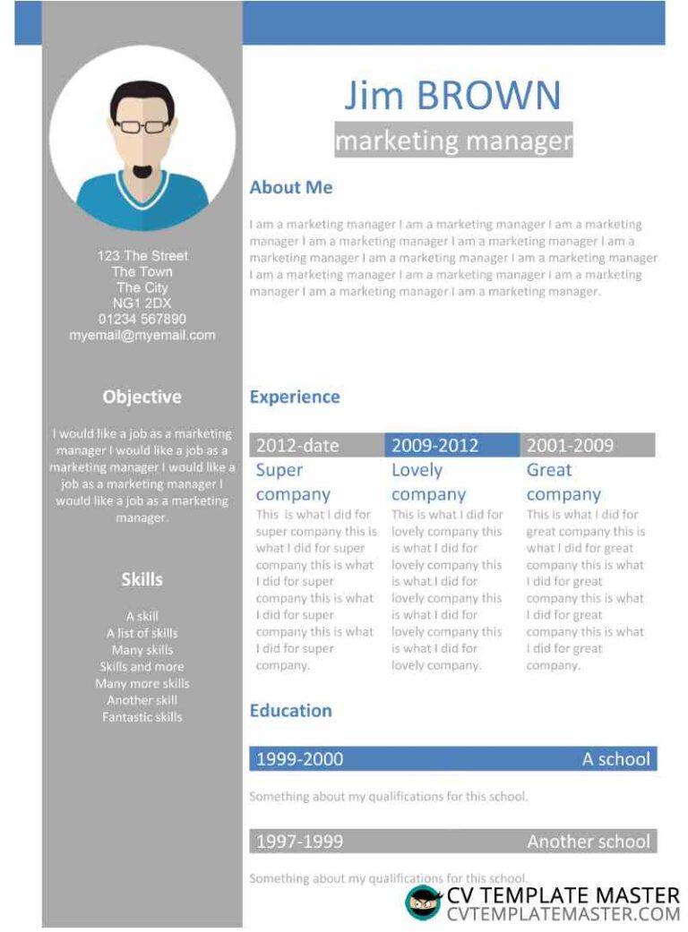 Free creative profile word cv template cv template