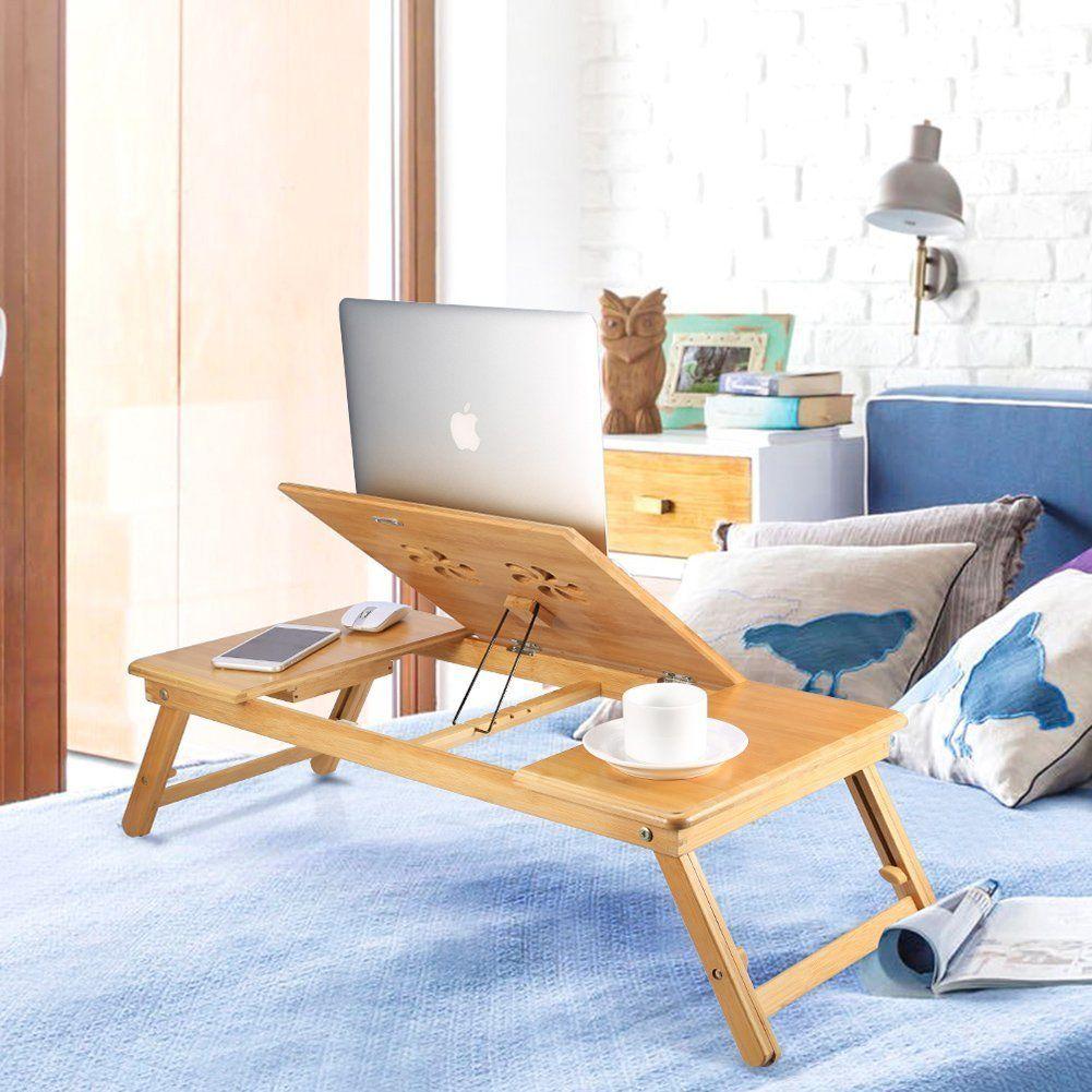 Portable Bamboo Foldable Laptop Desk Notebook Adjustable