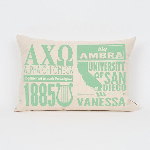 Alpha Chi Omega Custom Sorority Facts Pillow // Greek by Sororitee