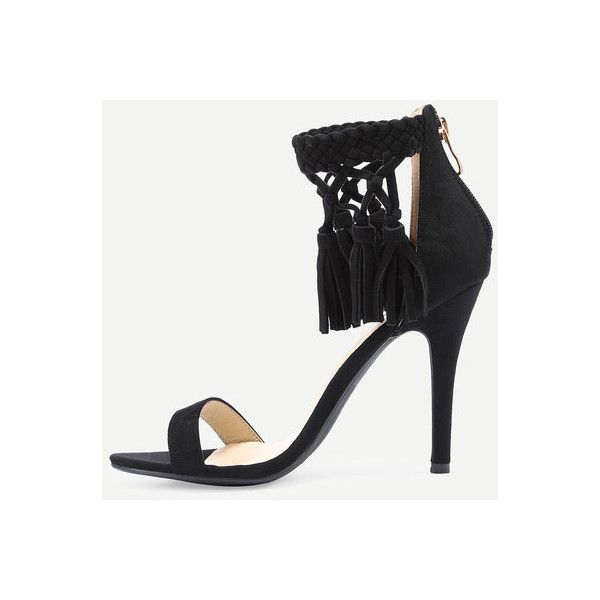 Braided Ankle Strap High Heel Sandals Black (56 BAM) ❤ liked on Polyvore featuring shoes, sandals, black sandals, ankle strap sandals, black ankle wrap sandals, black shoes and ankle tie shoes