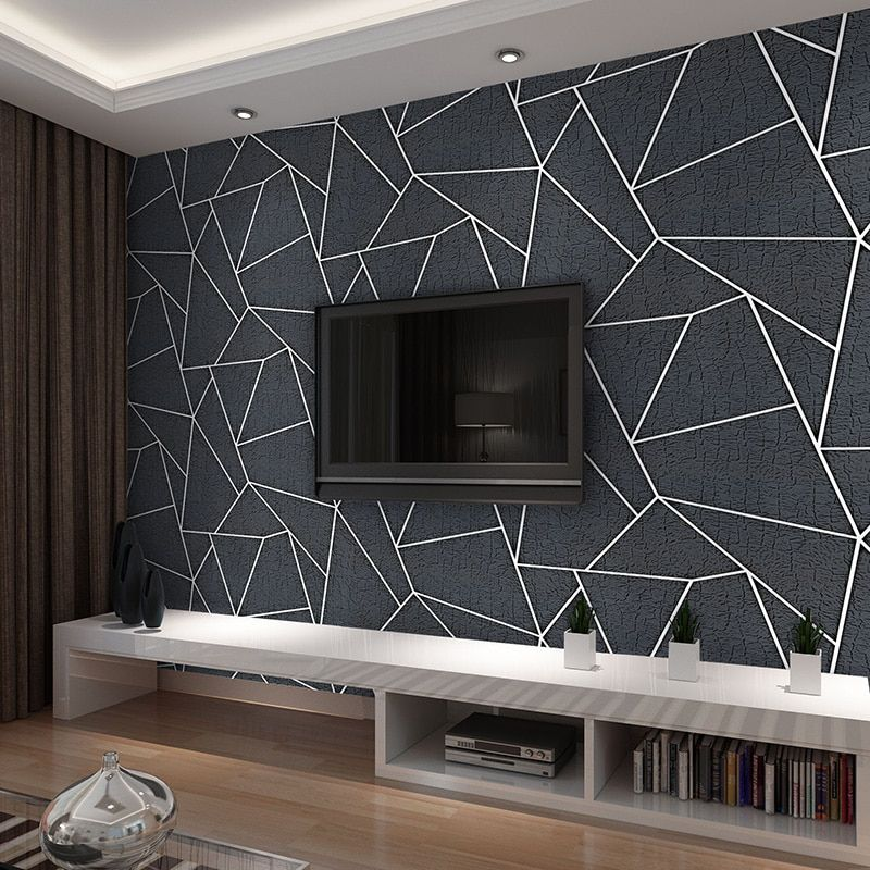 Modern 3d Stereo Black Geometric Wallpaper Fashion Thickened Flocking No Woven Wall Paper Roll For Geometric Wallpaper Geometric Wall Paint Bedroom Wall Paint Black geometric wallpaper uk