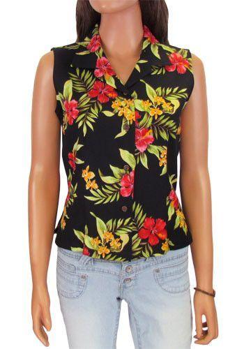 ec535fba1851a Hawaiian Luau Black Sleeveless Blouse – Twisted Palms Trading Co ...