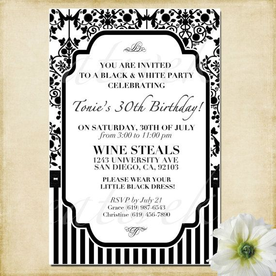 Customizable Black And White Party Invitation By KreativeKits - Black and white 30th birthday party invitations
